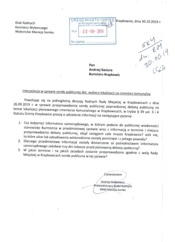 Interpelacja Klubu Radnych Komitetu Wyborczego Wyborców Macieja Sonika.png