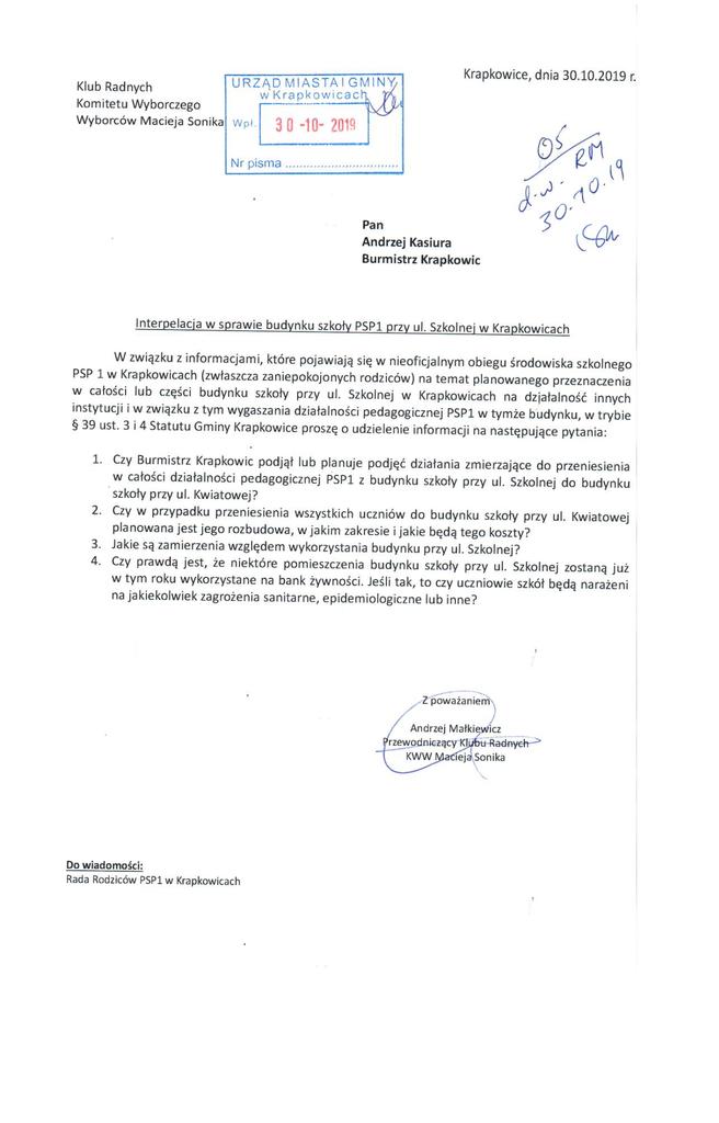 Interpelacja Klubu Radnych Komitetu Wyborczego Wyborców Macieja Sonika. dot. budynku PSP1 przy ul. Szkolnej w Krapkowicach.png