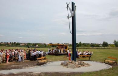 Der Wasserpegel wurde an der Oder, am Eichendorff-Platz in Krapkowice.jpeg