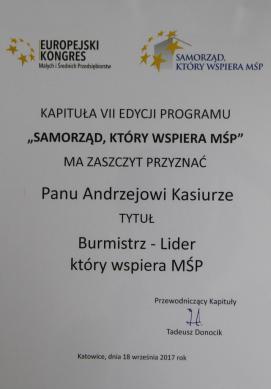Galeria Wsparcie MŚP w Krapkowicach na medal
