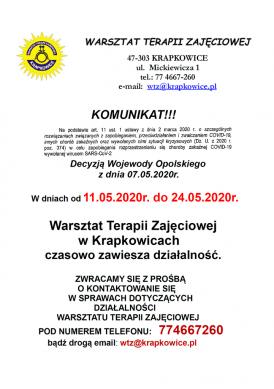 Komunikat Warsztatu Terapii Zajeciowej.png