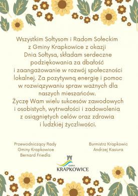 Wszystkim Sołtysom i Radom Sołecki z Gminy Krapkowice z okazji Dania Sołtysa, składam serdeczne podziękowania za dbałość i zaangażowanie w rozwój społeczności lokalnej. Za pozytywna energię i pomoc w rozwiazywaniu sp.jpeg